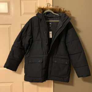 Gap Men's Navy faux-fur hood Puffer Jacket Size XL